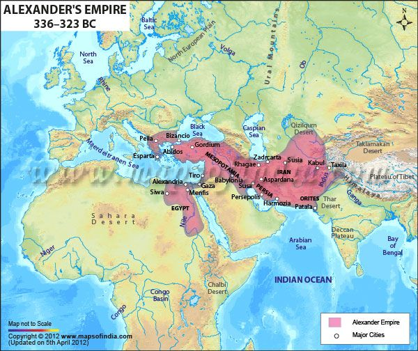 The empire conquered by Alexander the Great from 336 to 323 BC.