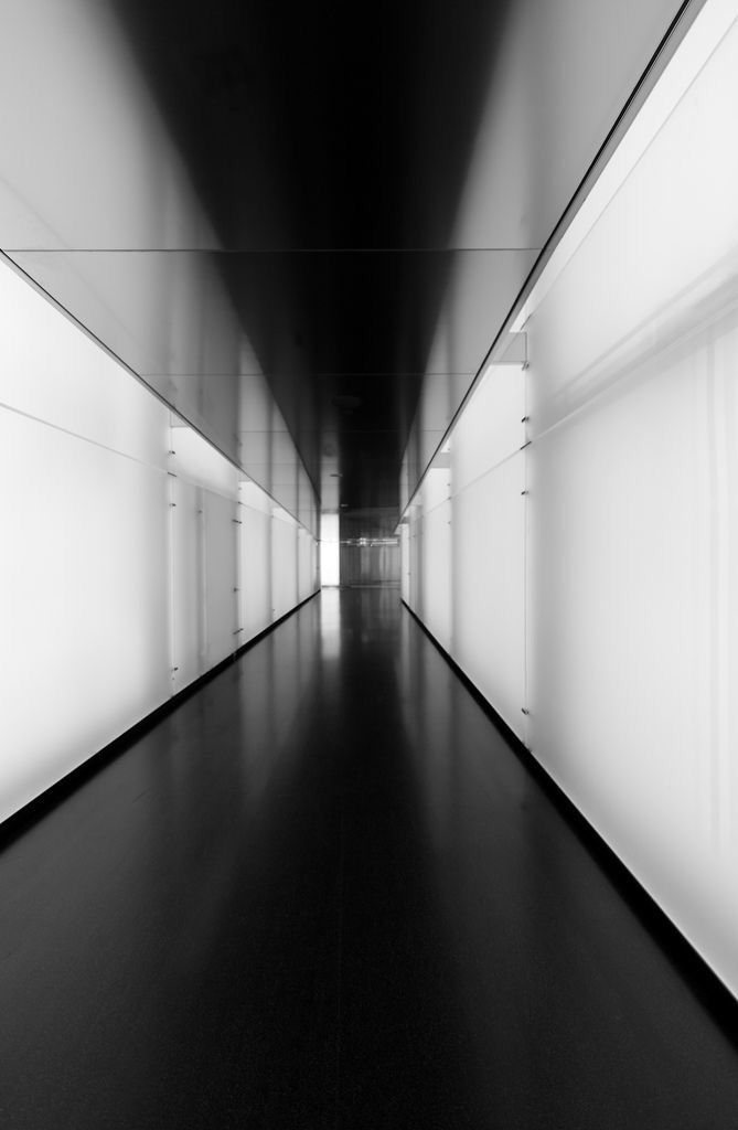 """*very modern """"gallery"""" feel. Gives a sense of upscale and classy ambiance.  black and white floor wall hallway architecture interior"""