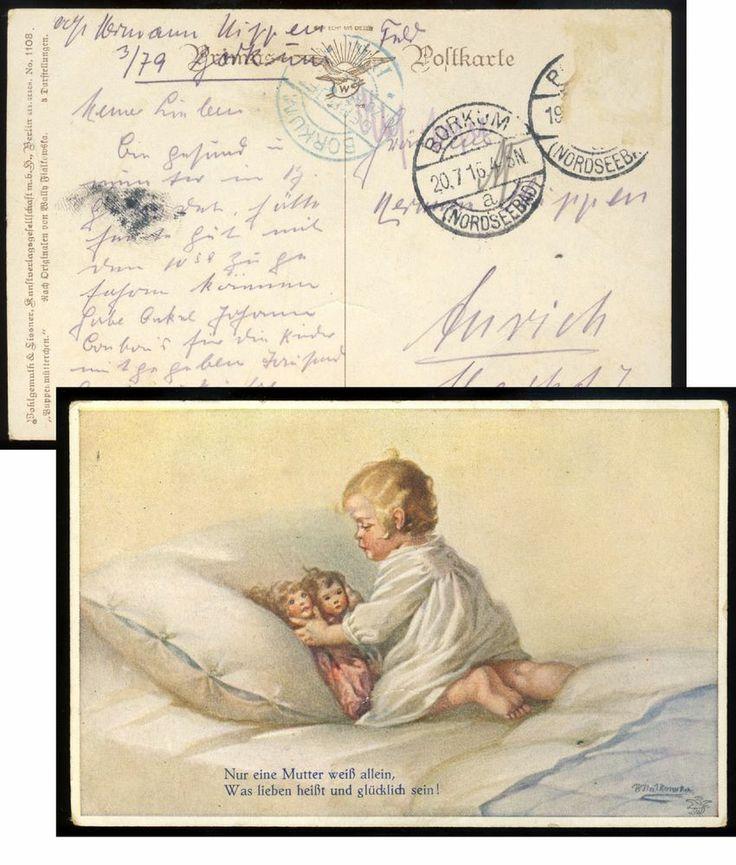 alt.Künstler-AK 1108 PUPPENMÜTTERCHEN 1916 signiert WALLY FIALKOWSKA Puppen-Kind