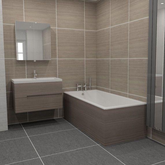 Vermont 1500 bath side panel - grey avola | bathstore