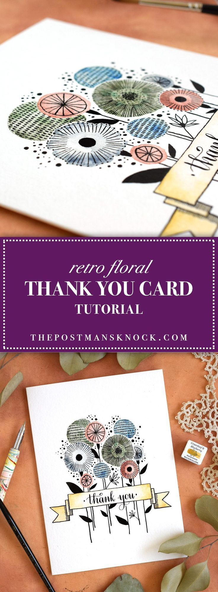 Retro Floral Thank You Card Tutorial | The Postman's Knock -- One of my favorites on the TPK blog! Great for people who want to practice using watercolors in a fun, simple way.