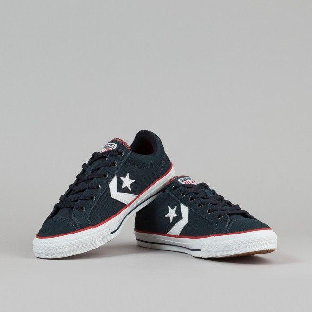 Converse Star Player LS OX Shoes - Dark Navy / White | Flatspot