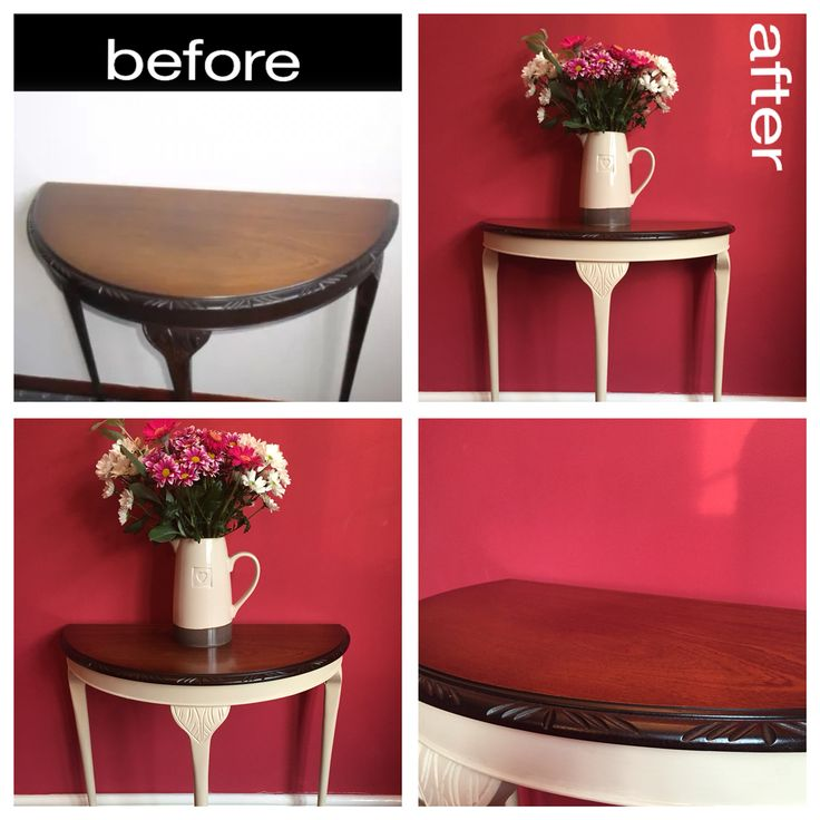 Before and after of our half-moon table