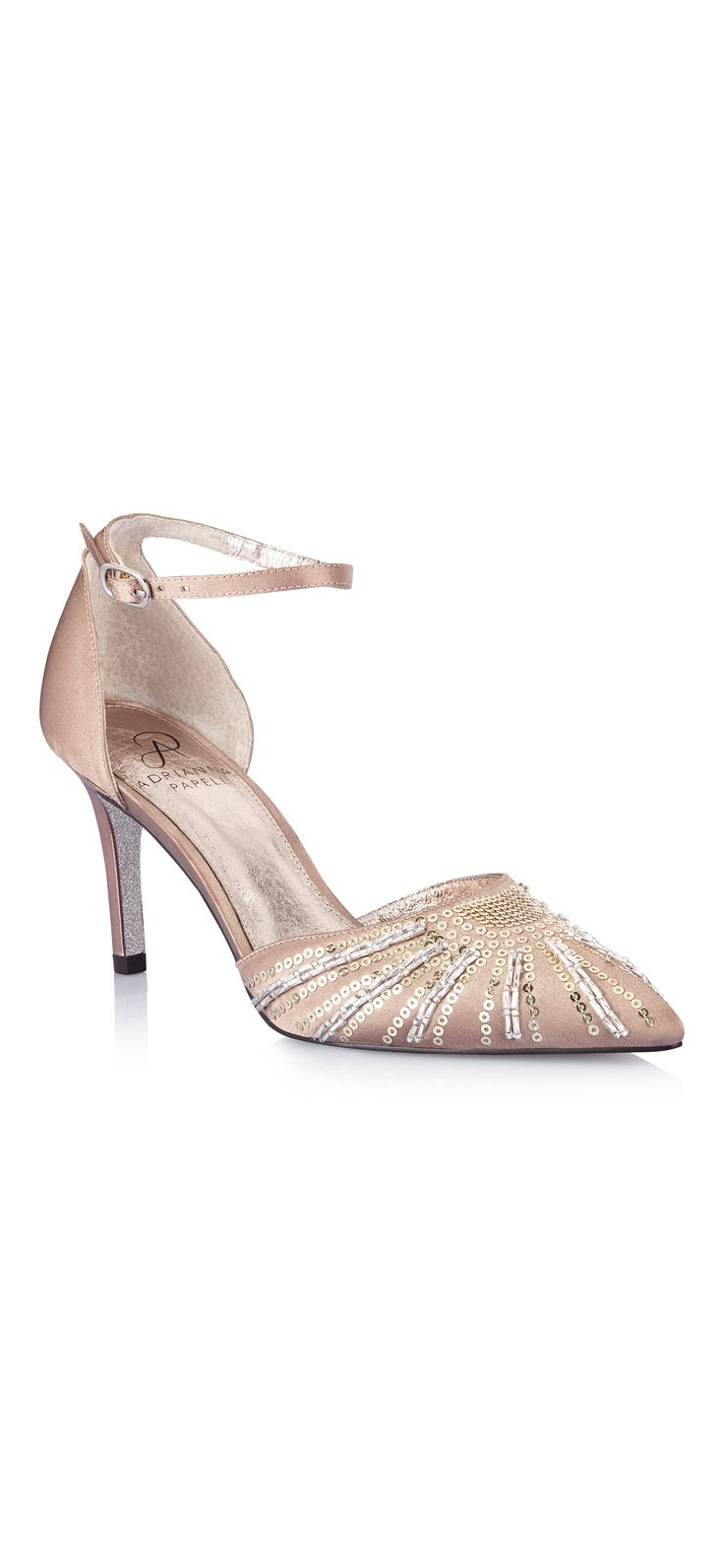 """Old Hollywood-style glamour and a luxe satin material make this pointy-toe evening pump a standout. Strips of beading and sequins grace the front of the foot adding texture, while a thin ankle strap softens the profile. 3"""" heel."""