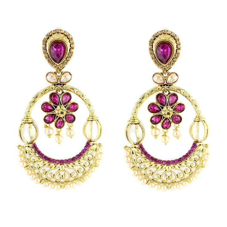 Attractive Indian Gold Plated Purple  Stone Karva Chauth Special Women Earring #natural_gems15