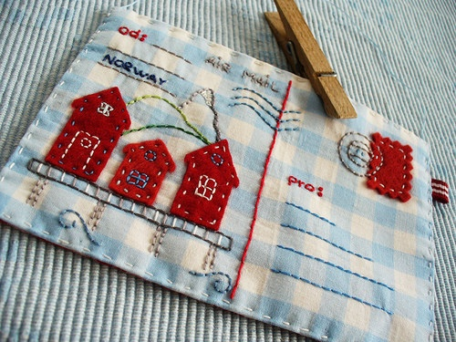 Fabric Houses on a Fabric Postcard