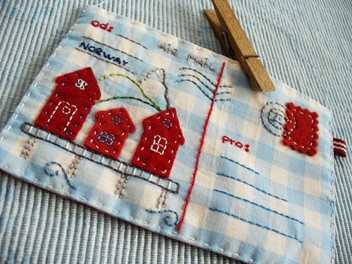 Fabric Houses on a Fabric Postcard