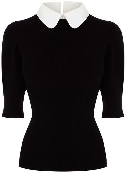 Karen Millen Shirt Collar Knit in  (black & white) #style #black #goth
