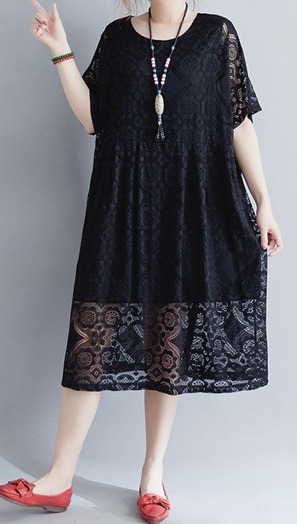 Women loose fit plus over size dress black lace tunic summer fashion party chic …