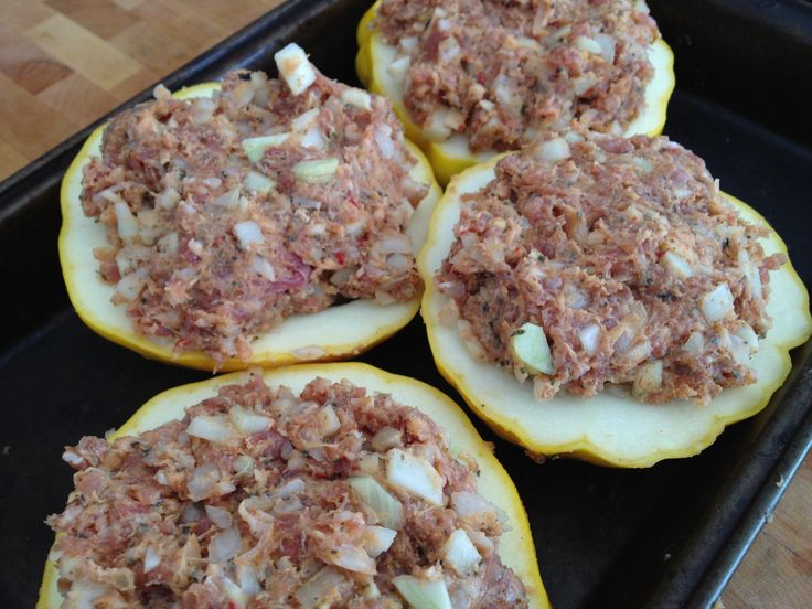 Place stuffing filled squash into 350 degree oven to cook. Approximately 30min.