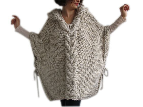 Plus Size Knitting Poncho with Hoodie - Over Size Tweed Beige Cable Knit by Afra on Etsy, $125.08 CAD: