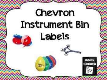 Chevron Classroom Instrument Bin Labels- Instrument Bin Labels with a Chevron border. #teacherspayteachers #musiceducation #classroomdecorations