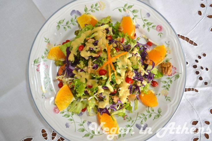 Rainbow salad with a sweet and sour orange and tahini sauce #vegan #glutenfree #paleo #salad #raw