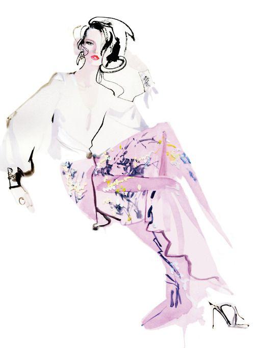 Illustration by David Downton.: Fashion Drawing, Fashion Sketches, David Downton, Fashion Art, Illustration, Fashionillustration, Daviddownton, Downton Illustration, Fashion Illustrations