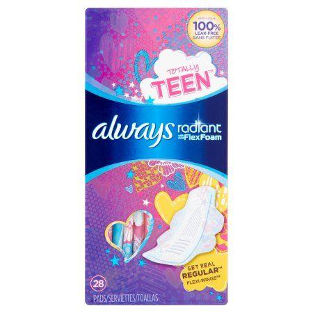 Always Totally Teen Radiant Infinity Pads Regular - 28 CT