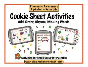 Cookie Sheet Activities Vol. 1- ABC Order, Rhyme and CVC words.  Great for small group instruction or literacy centers.