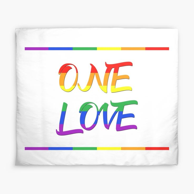 One Love - LGBT Pride Duvet Cover  by scardesign11.  #typographic #onelove #art #design  #lgbt #pride #couples #popular #valentine #romance #pop #rainbowflag #rainbow #colorful #life #love #loveislove #gay #lesbian #trans #home #homedecor #pride #gaypride #cool #awesome #valentinesdaygifts #valnetinesday #family #onlineshopping #giftsforhim #giftsforher #fashion #style #bedroom #39 #gaypride #lesbianpower #feminist #march #gayhome #homegifts #gaydads #lesbianmoms #duvet #duvetcover #shopping