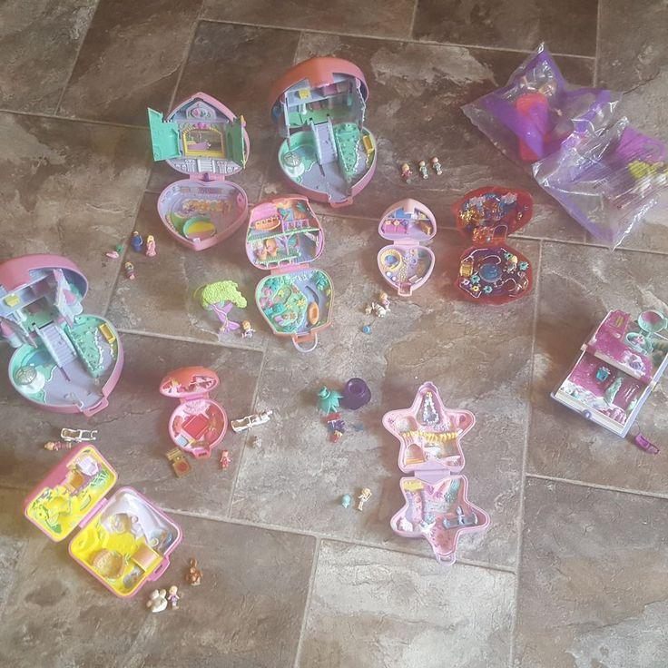 Vintage Polly Pocket Lot 9 Playsets Mini Figurines Bluebird Toys-Mattel Dolls #Mattel #HousesFurnitureDollsAnimals