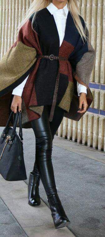Leather Leggings, Black Booties, Poncho, belt, white Oxford shirt, black tote bag