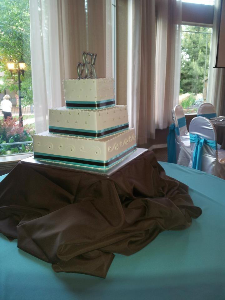 Monogram wedding cake | 3 tier wedding cake | Square wedding cake | Ribbon wedding cake | Blue and brown wedding cake | Azucar Bakery | Denver wedding cake bakery
