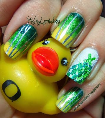 Oregon Duck nail art for October 12