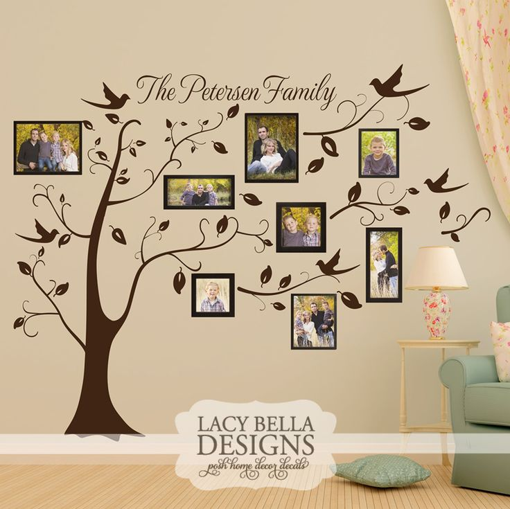 wall decal family art bedroom decor  lacy bella designs this is a beautiful and creative way to show off your family photos embellished with birds and leaves this vinyl wall decal art