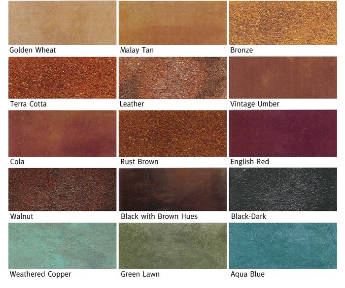 Knock Down Floor Colors Acid Stain Color Chart Ideas