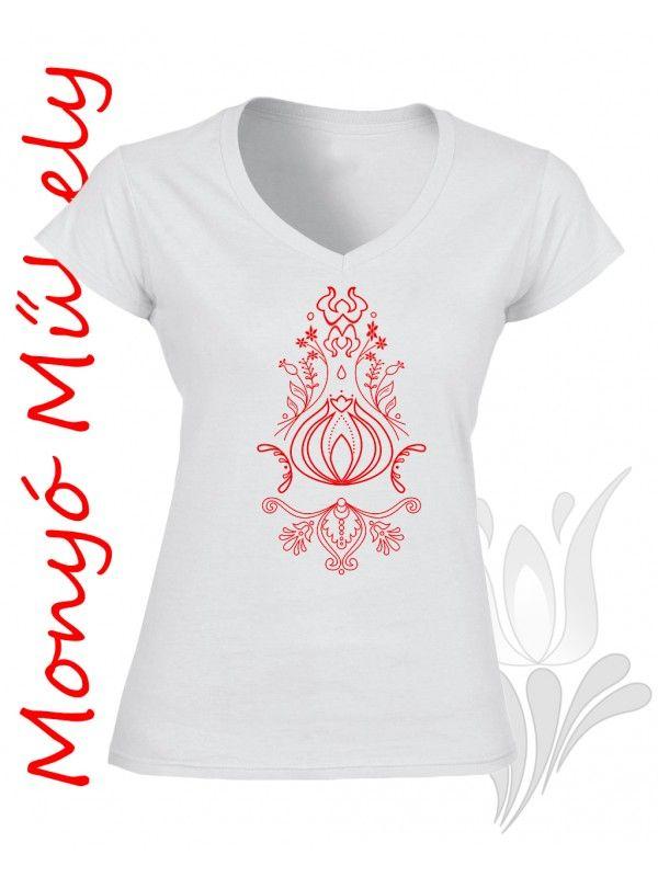 Szűr mintás női póló - Fehér Piros