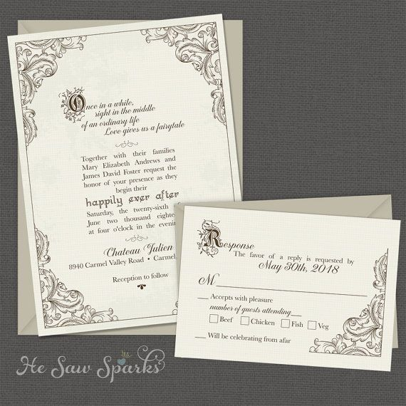 FairyTale Printable Wedding Invitation - Happy Endings