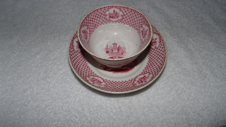 Red Transfer ware Chinese Cup Saucer W Adams Son #Adams
