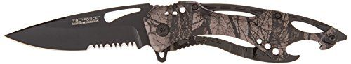 TAC Force TF-705FC Assisted Opening Tactical Folding Knife, Black Half-Serrated Blade, Fall Camo Handle, 4-1/2-Inch Closed. For product info go to:  https://all4hiking.com/products/tac-force-tf-705fc-assisted-opening-tactical-folding-knife-black-half-serrated-blade-fall-camo-handle-4-12-inch-closed/