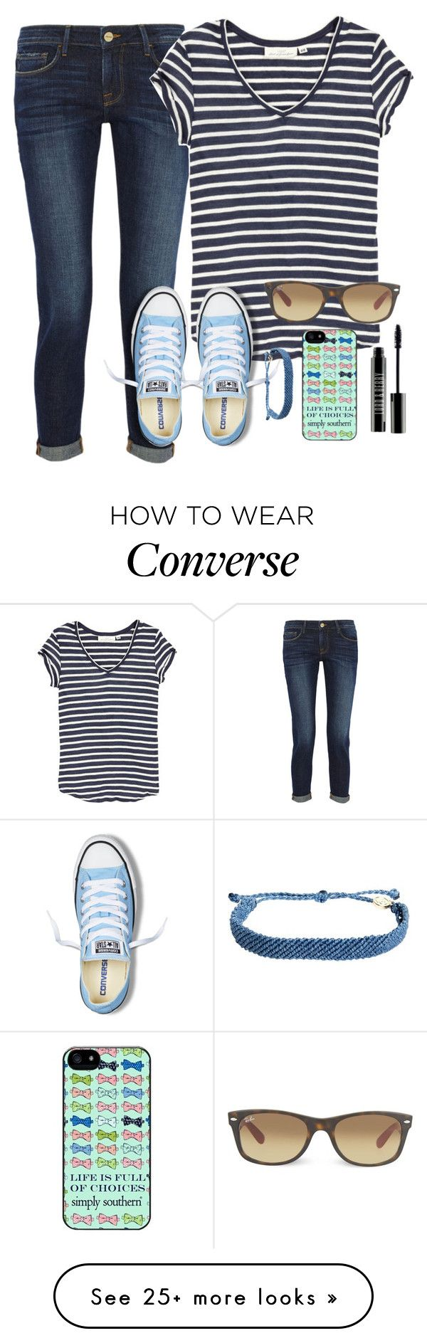 """Thanks for 700!!!"" by skatetofreedom on Polyvore featuring Frame Denim, H&M, Converse, Pura Vida, Lord & Berry and Ray-Ban"