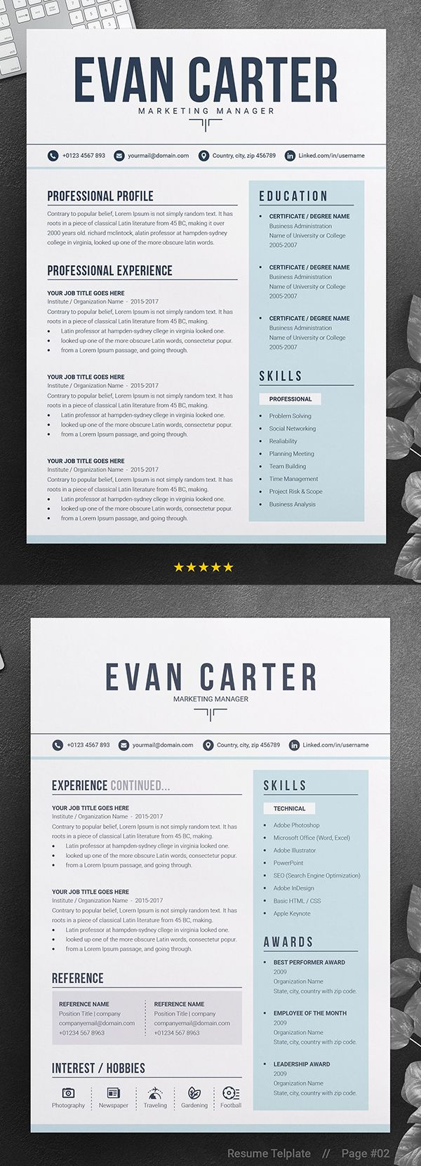 Modern Professional Resume Cv Cv Simple Presentation Cv Cv Moderne