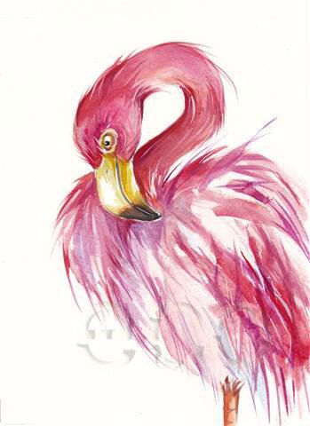 50 OFF FLAMINGO  ORiGINAL watercolor painting 8x10 by EcoProduct, $20.00