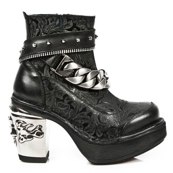 Chaussures Noires New Rock Pour Femmes QBEdqyE
