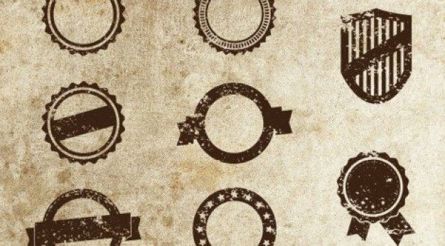 Grungy borders collection vector stamps Free Vector