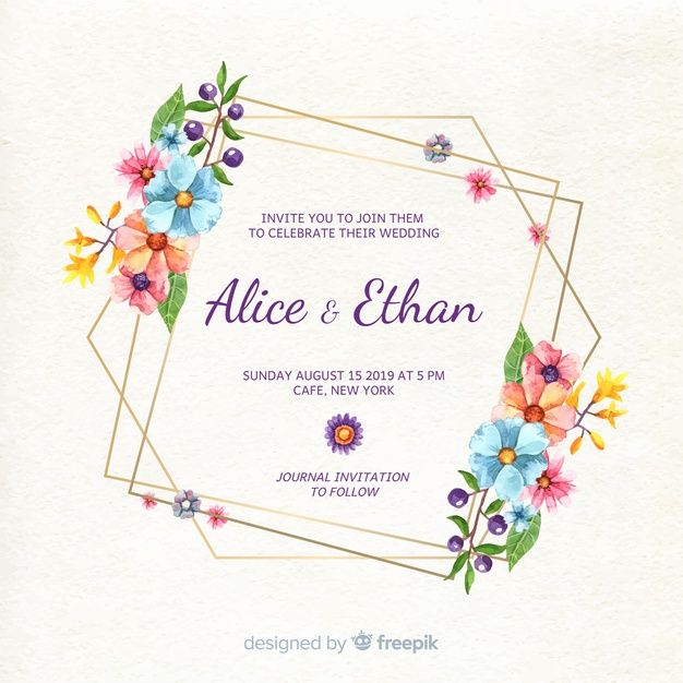 Free Pdf Download Watercolor Wedding Flowers Invitation Template