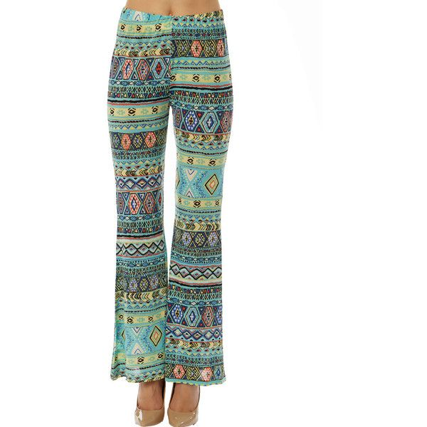Women's Women Missy Printed Flared Pants: Turquoise Aztec/Small ($13) ❤ liked on Polyvore featuring pants, black, flared pants, vintage pants, bellbottom pants, flare pants and bell bottom pants