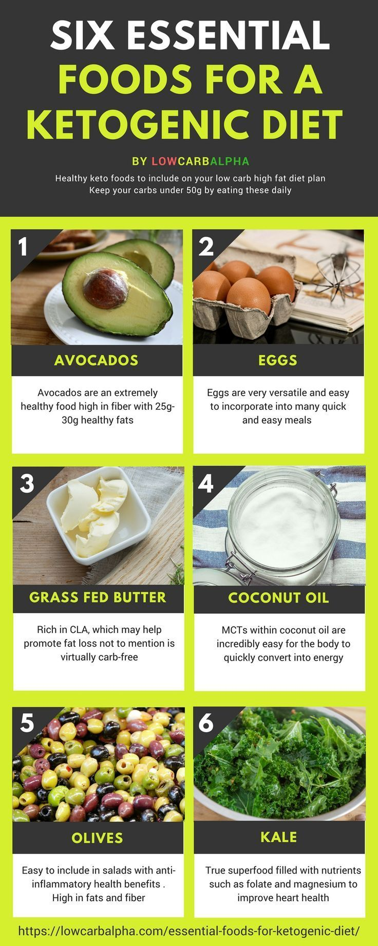 Learn about Six essential foods for a Ketogenic Diet https://lowcarbalpha.com/essential-foods-for-ketogenic-diet/ & Why are Keto Foods good for health. Experience process of ketosis