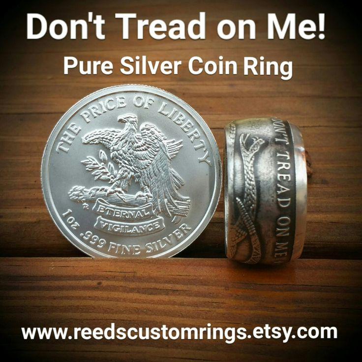 Don't Tread on Me Rings - Hand Forged Pure Silver Coin Rings @ www.reedscustomrings.etsy.com #donttreadonme #GadsdenFlag #dtom #silverring #silver #rings #jewelry #bullion #silverbullion #silverjewelry #patriotic #veteranowned #usmcvet #veteran