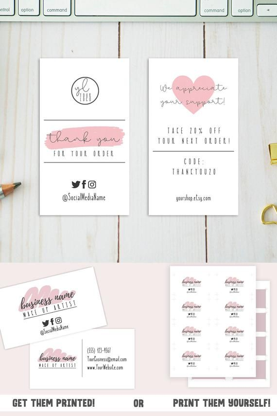 Pink Business Card Template Small Business Card Design W Social Media Icons Editable Custom Business Card For Etsy Sellers Shop Owner Pink Business Card Business Cards Diy Templates