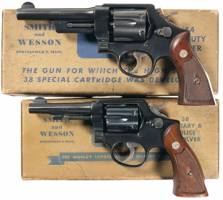 Collector's Lot of Two Boxed Smith & Wesson Double Action Revolvers - Smith & Wesson 38/44 Heavy Duty Model of 1950 Pre-Model 20 Revolver