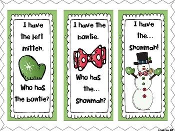 Free!  I Have Who Has Frosty Style...winter vocab/reading activity