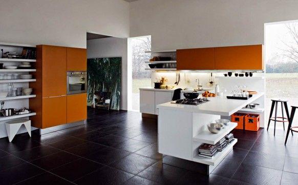 Fascinating black white orange kitchen with black floor for Orange and white kitchen designs