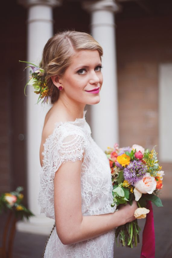 Sarah Seven wedding dress  photos by Ceebee Photography   100 Layer Cake [dress and flowers]