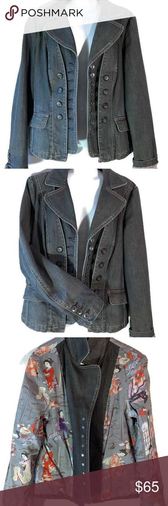 MUST SEE Geisha Double breasted denim jean jacket …