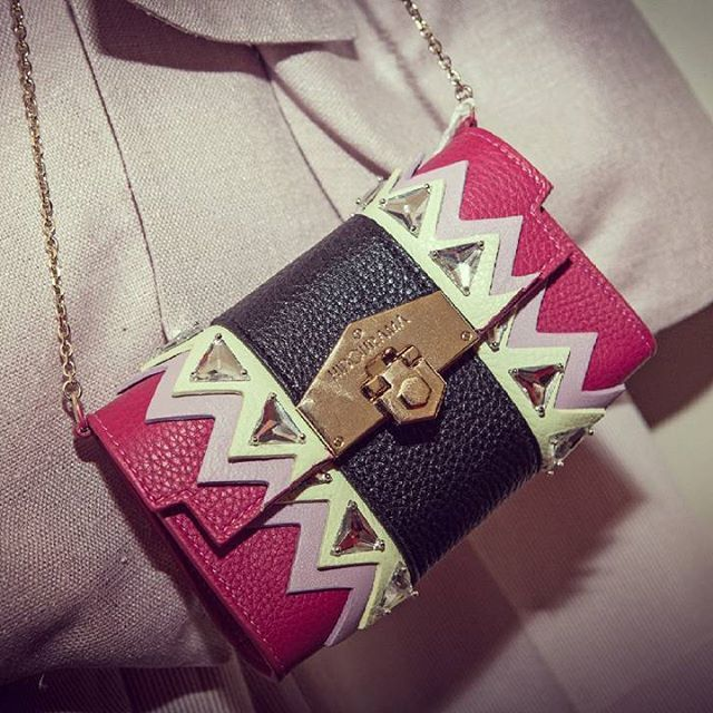 """EVE clutch by @hibourama_bags is perfect for your days and nights out.The power of """"black"""" is enhanced by stones and colored, nice zigzag. Light pink and green will match well both with elegant dresses and distressed pants.Enjoy your summer with http://finaest.com/designers/hibourama/eve-fuchsia-with-stripes-and-embroidered-stones-calsfkin-clutch  #finaest #worldwide #worldwideshipping #shoppingonline #onlineshop #madeinitaly #handmade #handcraft #hibourama #bags #leatherbags #womenbags…"""