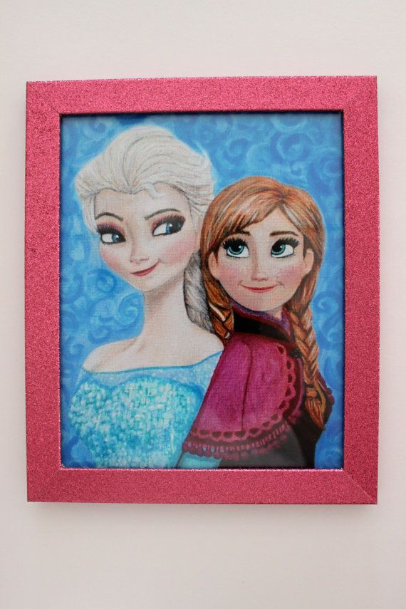 frozen elsa and anna painting print, sparkly pink or silver frame, only at frontporchpainting on etsy.com
