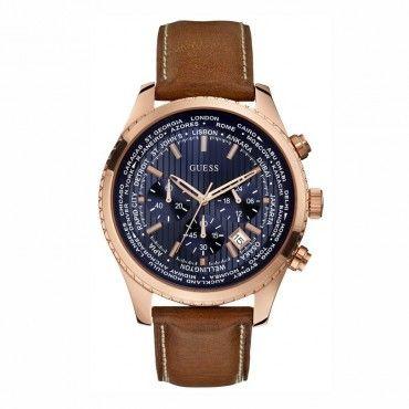 GUESS ρολόγια ΤΣΑΛΔΑΡΗΣ - W0500G1 - GUESS blue chrono brown strap. Ανδρικό quartz ρολόι GUESS με χρονογράφο, μπλε καντράν & καφέ δερμάτινο λουρί #Guess #χρονογραφος #μπλε #λουρι #ρολοι