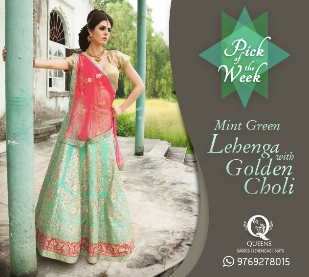 Add some freshness to the wedding ceremony with this beautiful Mint and Gold Lehenga. http://bit.ly/QueensEmporium ‪#‎QueensEmporium‬ ‪#‎Lehenga‬ ‪#‎Pickoftheweek‬